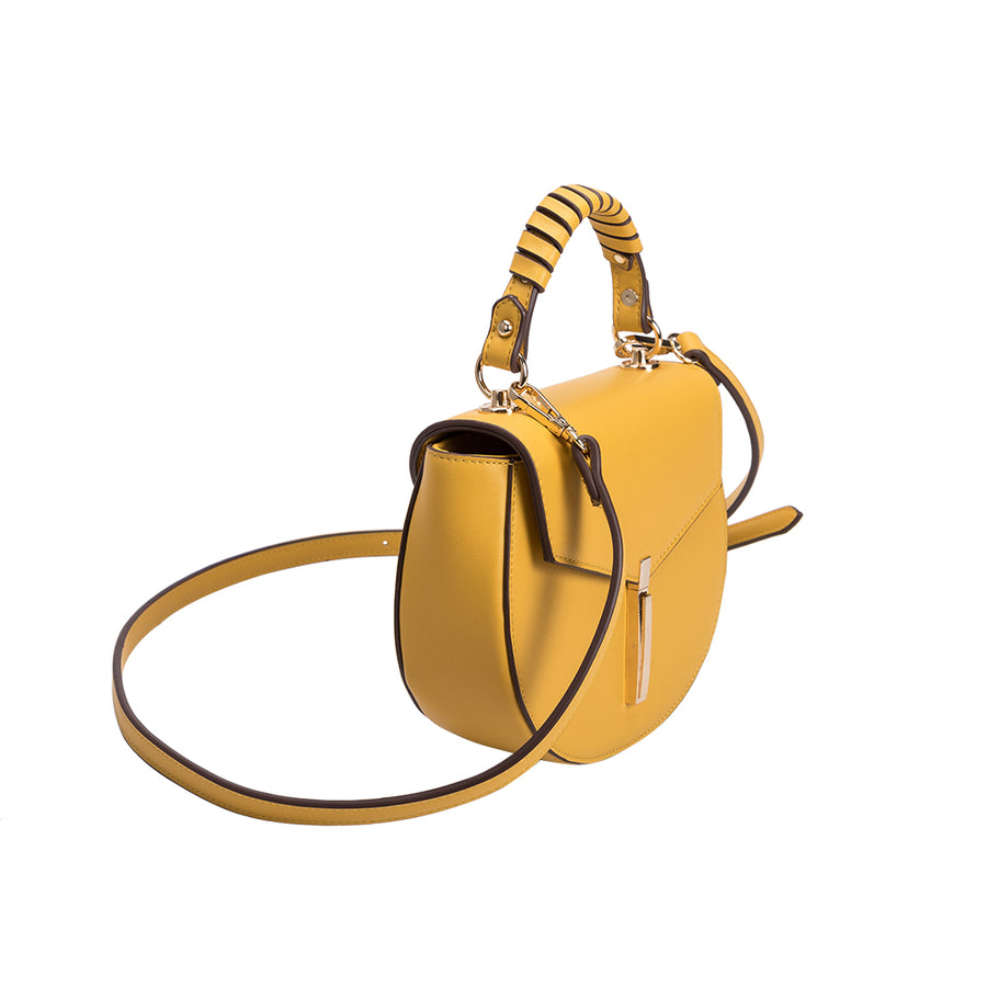 Melie Bianco Luxury Vegan Leather Mandy Crossbody Bag in Yellow