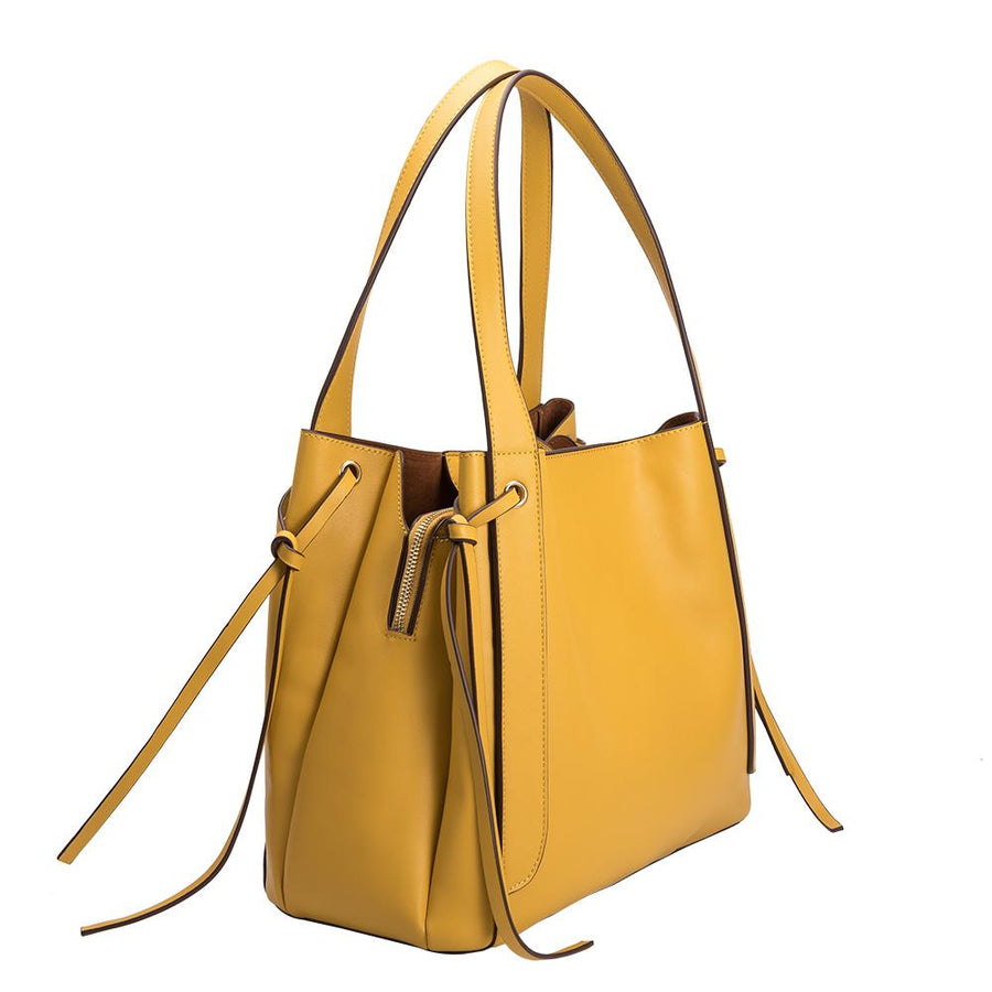 Melie Bianco Luxury Vegan Leather Leslie Shoulder Bag in Yellow