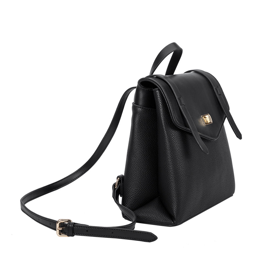 Melie Bianco Luxury Vegan Leather Maxine Backpack in Black