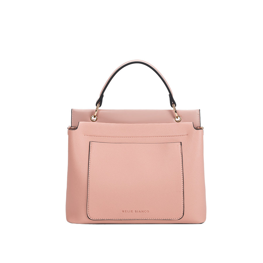 Melie Bianco Luxury Vegan Leather Roxy Shoulder Bag in Blush