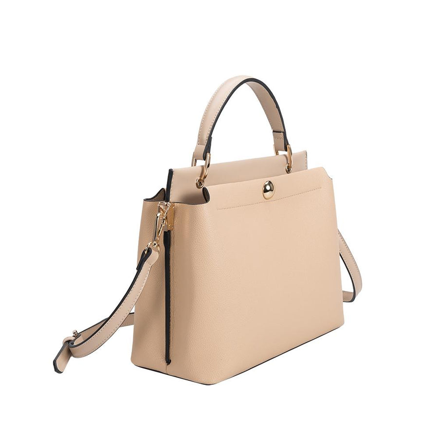 Melie Bianco Luxury Vegan Leather Roxy Shoulder Bag in Tan