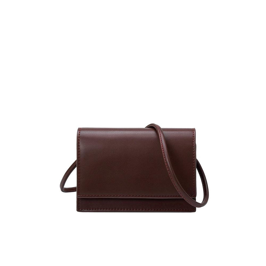 Melie Bianco Luxury Vegan Leather Gina Small Crossbody Bag in Chocolate