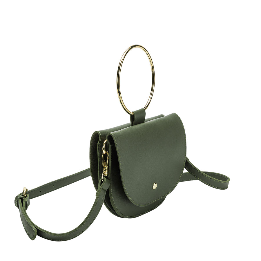 Melie Bianco Felix Luxury Vegan Leather Top Handle Crossbody in Olive (4178437865523)