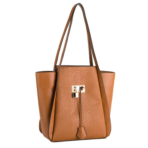 Ginie Snake Skin Large Tote