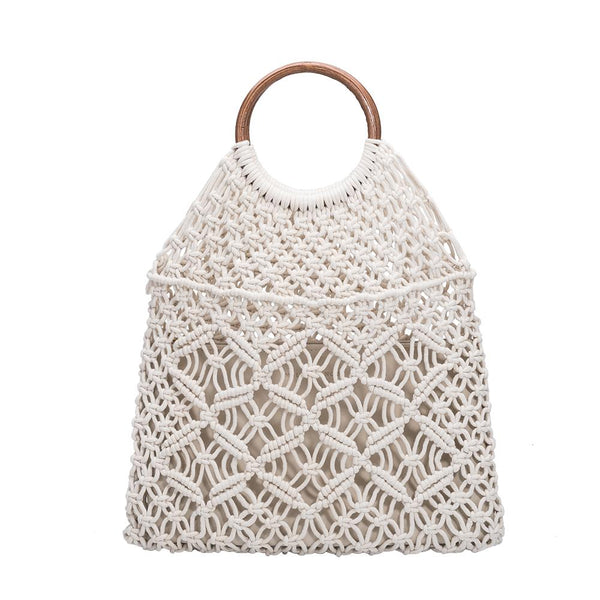 Melie Bianco Natalie Luxury Vegan Leather Macrame Tote in Bone