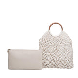 vegan, cruelty free, handbag, bag, purse, faux leather, animal friendly, sustainable fashion, shoulder, tote, woven, macrame, wooden handle, bone, cream, summer, beach
