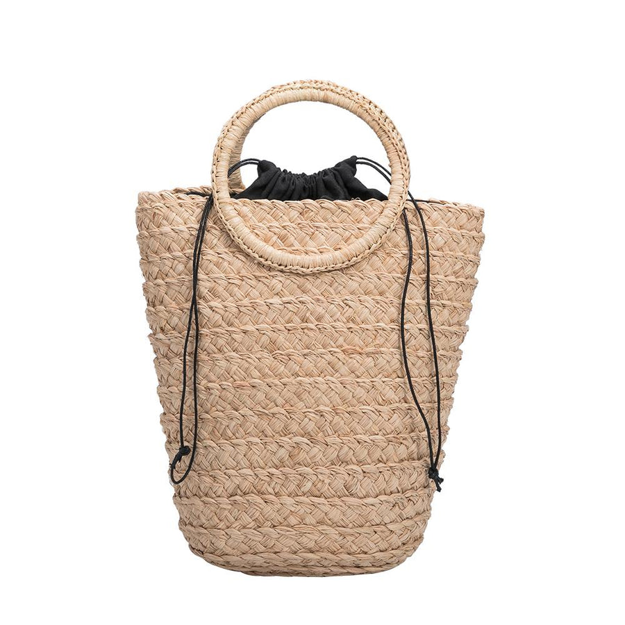 Melie Bianco Top Handle Eco Friendly Straw Bag in Natural