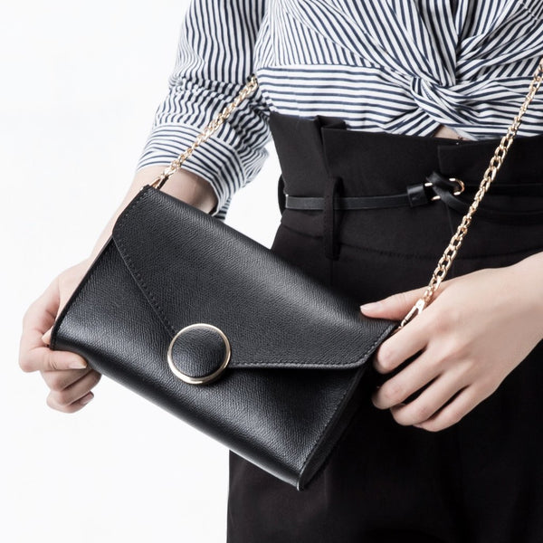 Elsa Black Front Flap Crossbody