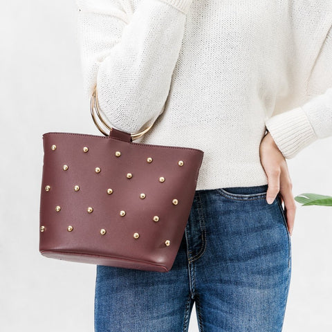 Makenzie Burgundy Studded Crossbody