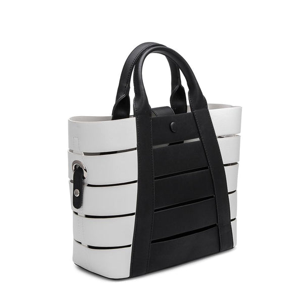 Camille Black Striped Tote