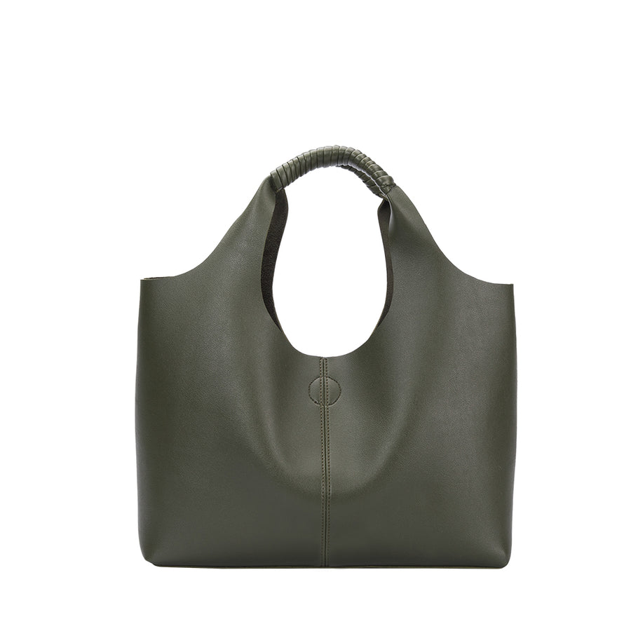 Melie Bianco Diana Luxury Vegan Leather Tote in Olive (4177027530803)