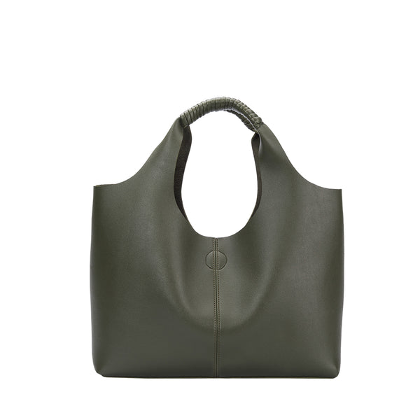 Melie Bianco Diana Luxury Vegan Leather Tote in Olive