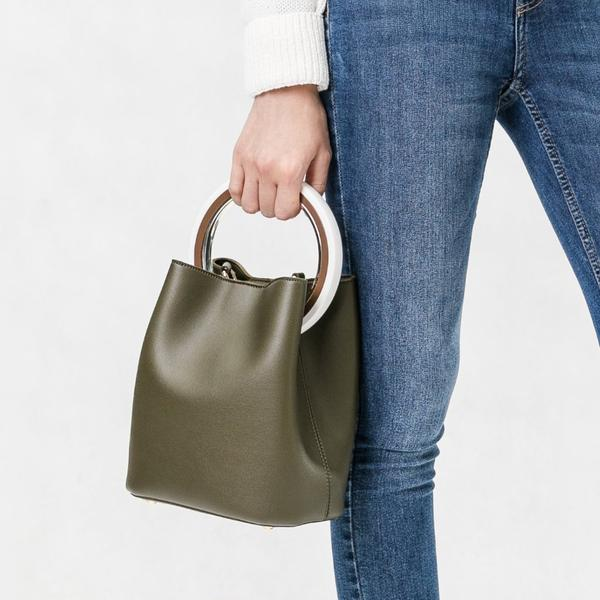 Gemma Olive Round Handle Crossbody