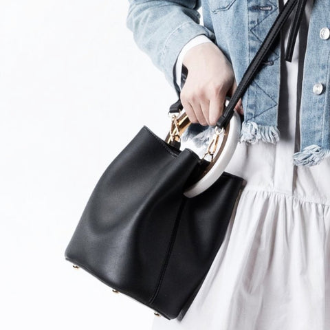 Gemma Black Round Handle Crossbody