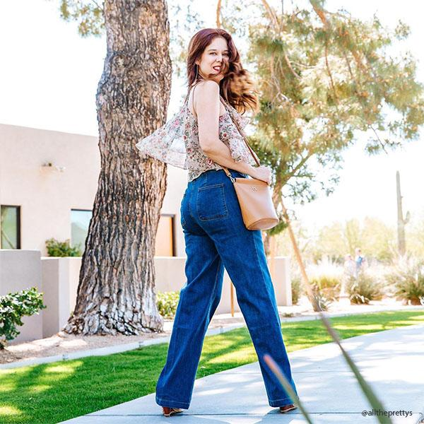 Instagram Influencer wearing Melie Bianco Luxury Vegan Leather Tami Tan Crossbody Handbag Purse