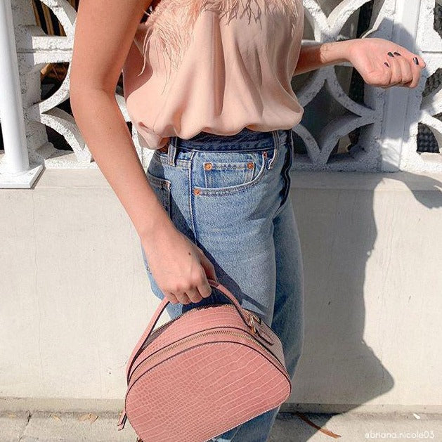 Melie Bianco Luxury Vegan Leather Calvin Crossbody Bag in Blush