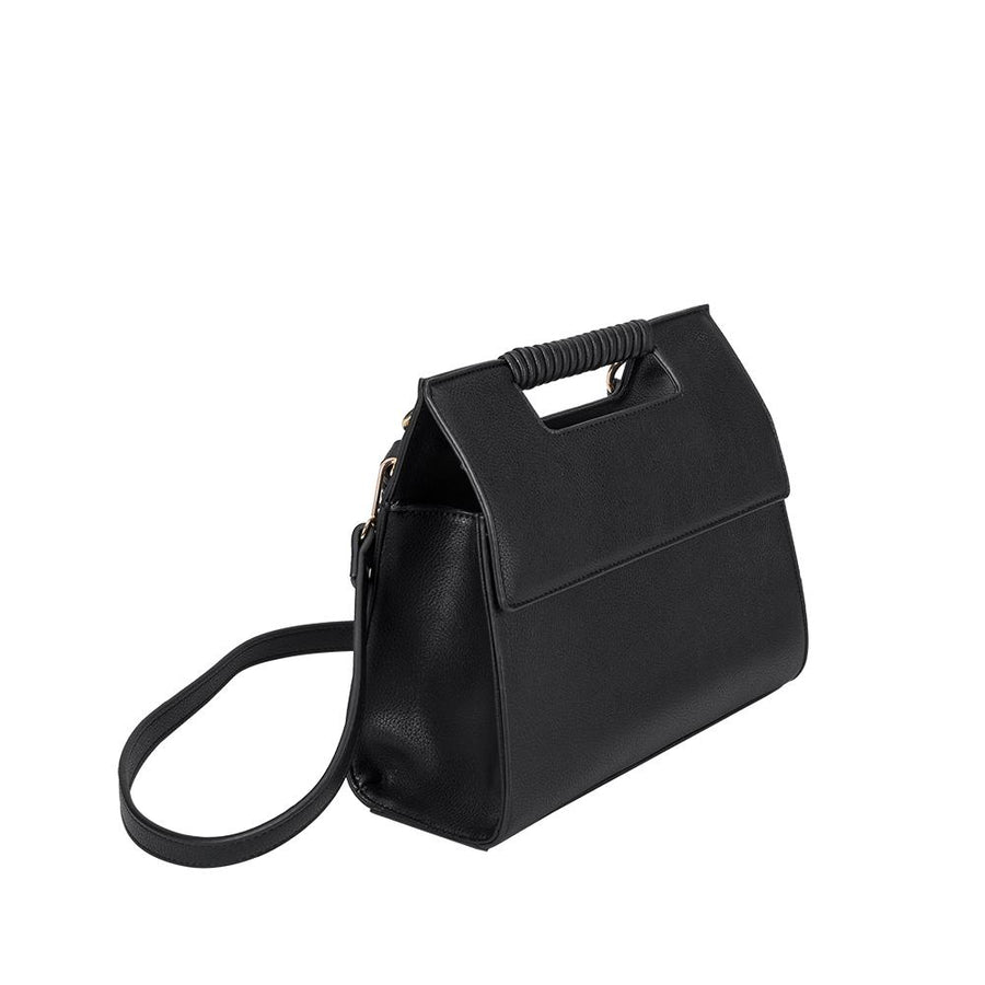 Melie Bianco Blair Luxury Vegan Leather Shoulder Bag in Black