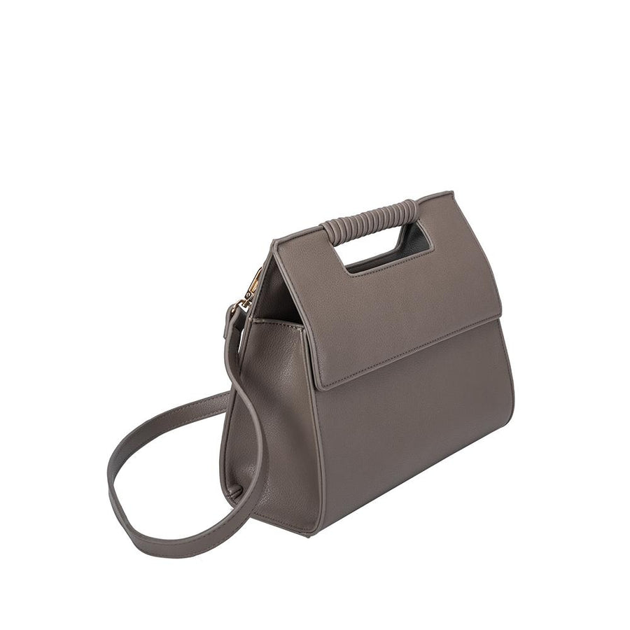 Melie Bianco Blair Luxury Vegan Leather Shoulder Bag in Taupe