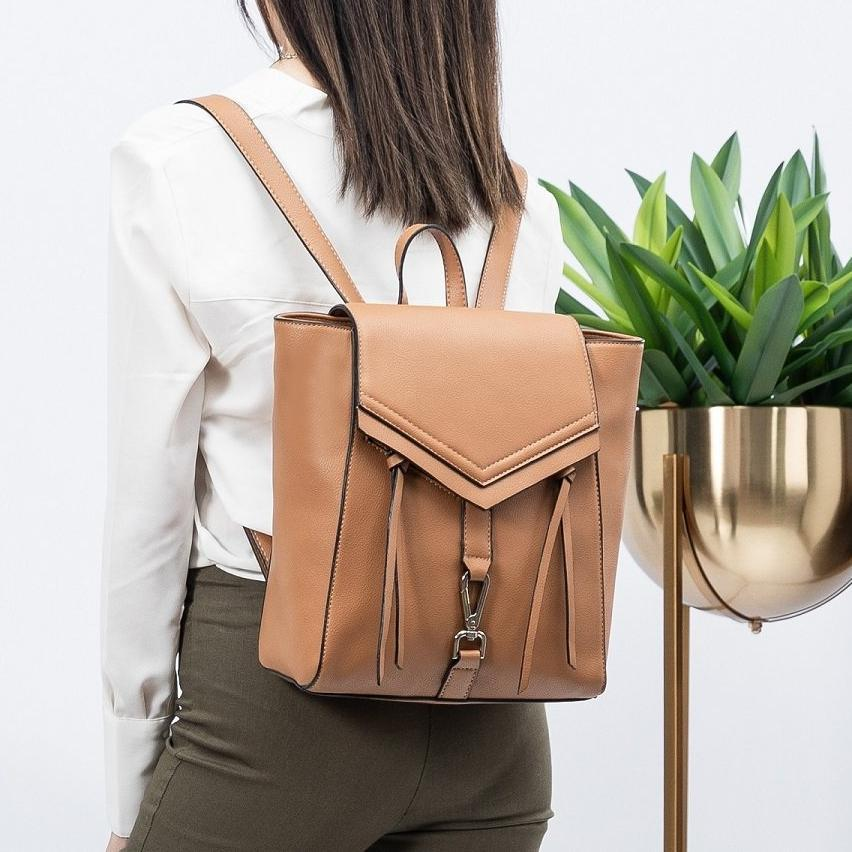 Melie Bianco Adrianne Luxury Vegan Leather Backpack in Camel