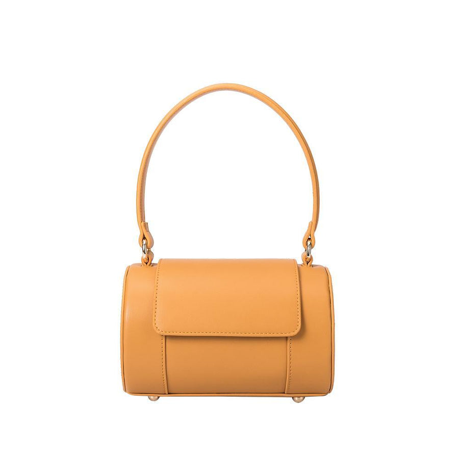 Melie Bianco Brooke Luxury Vegan Leather Top Handle Crossbody in Mustard