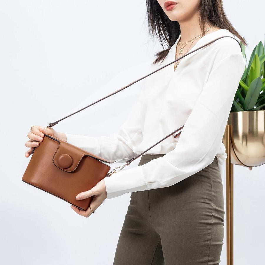Melie Bianco Adelynn Luxury Vegan Leather Top Handle in Saddle