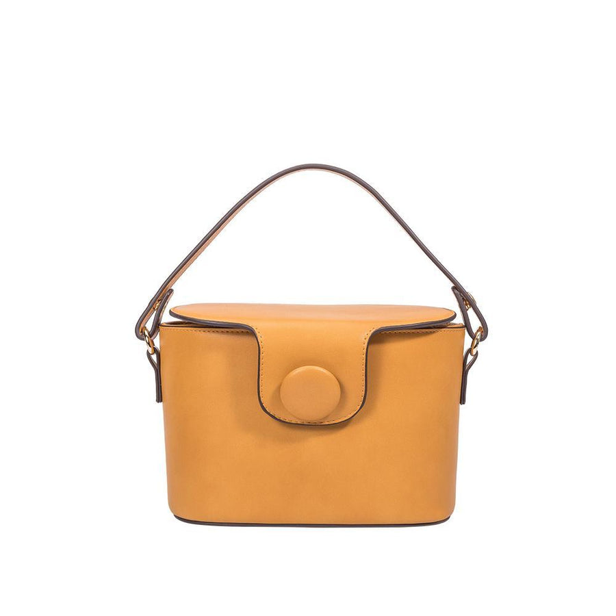 Melie Bianco Luxury Vegan Leather Adelynn Crossbody Bag in Mustard