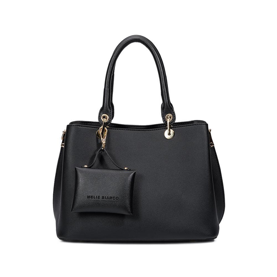 Melie Bianco Bridget Luxury Vegan Leather Satchel in Black