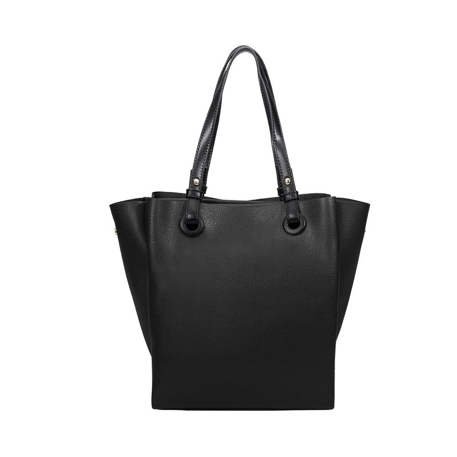 Melie Bianco Luxury Vegan Leather Devyn Tote Bag in Black