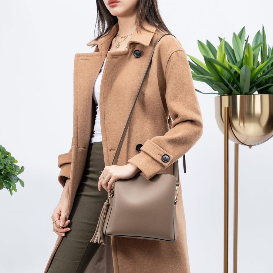 Melie Bianco Genevieve Luxury Vegan Leather Shoulder Bag in Taupe