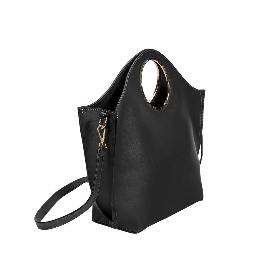 Melie Bianco Luxury Vegan Leather Heather Tote Bag in Black