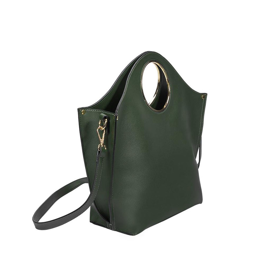Melie Bianco Heather Luxury Vegan Leather Tote in Olive (4177001087027)