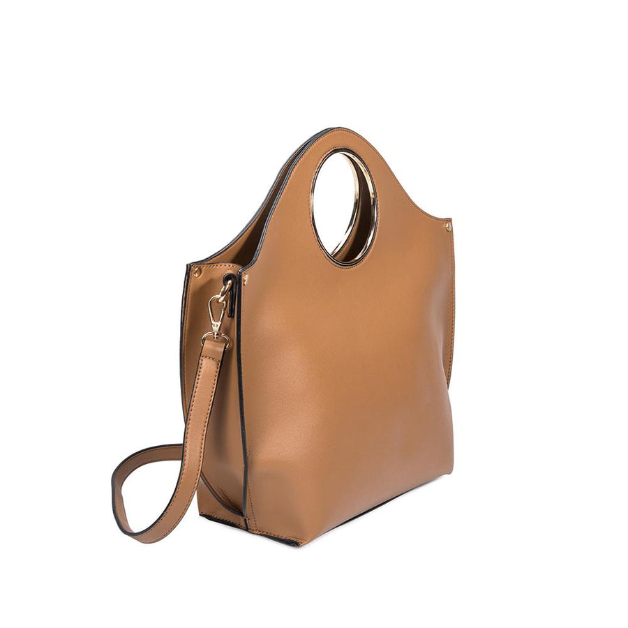 Melie Bianco Heather Luxury Vegan Leather Tote in Camel (4177000464435)