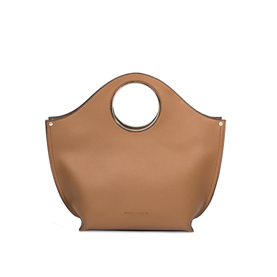 Melie Bianco Luxury Vegan Leather Heather Tote Bag in Camel