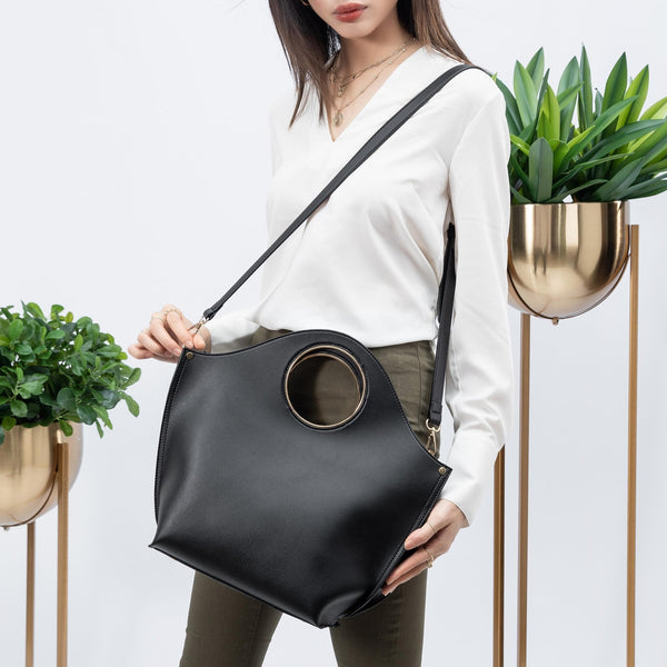Melie Bianco Heather Luxury Vegan Leather Tote in Black