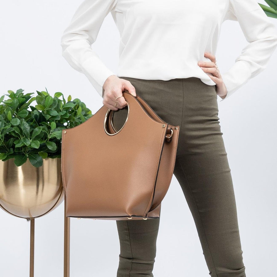 Melie Bianco Heather Luxury Vegan Leather Tote in Camel