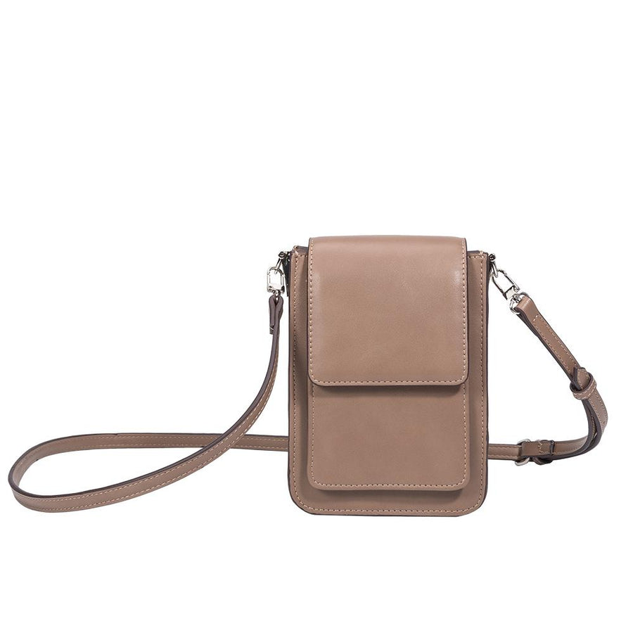 Melie Bianco Jesse Luxury Vegan Leather Crossbody in Taupe