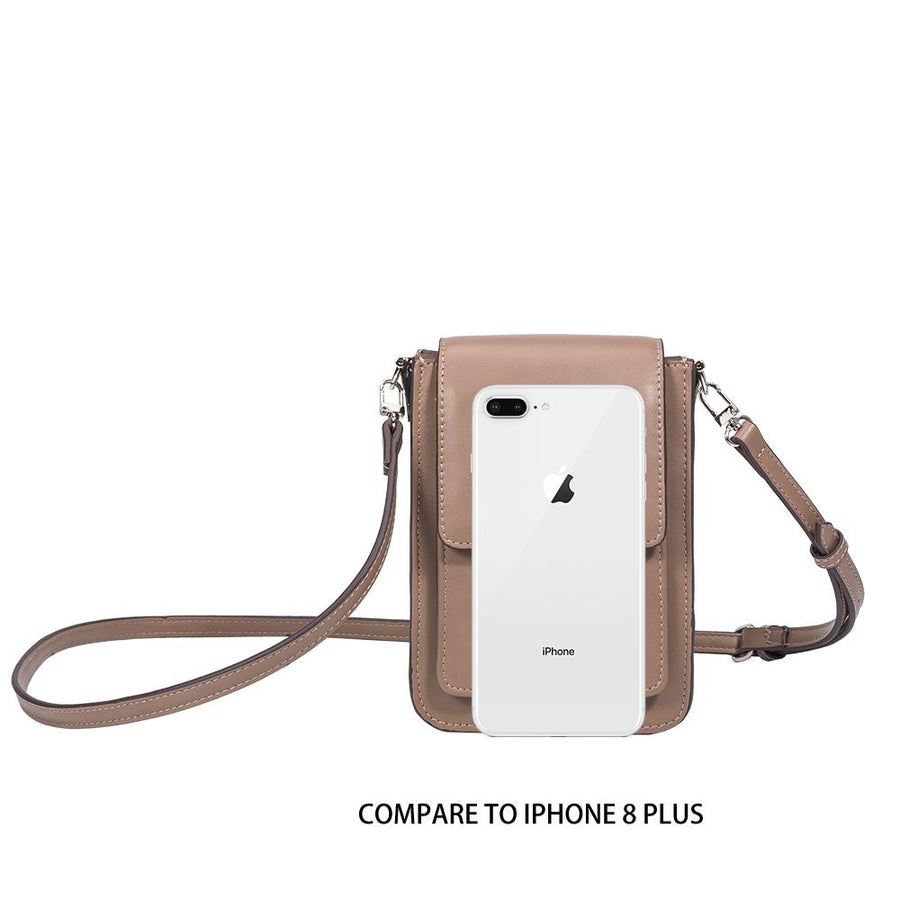 Melie Bianco Jesse Luxury Vegan Leather Crossbody in Taupe (4177081860147)