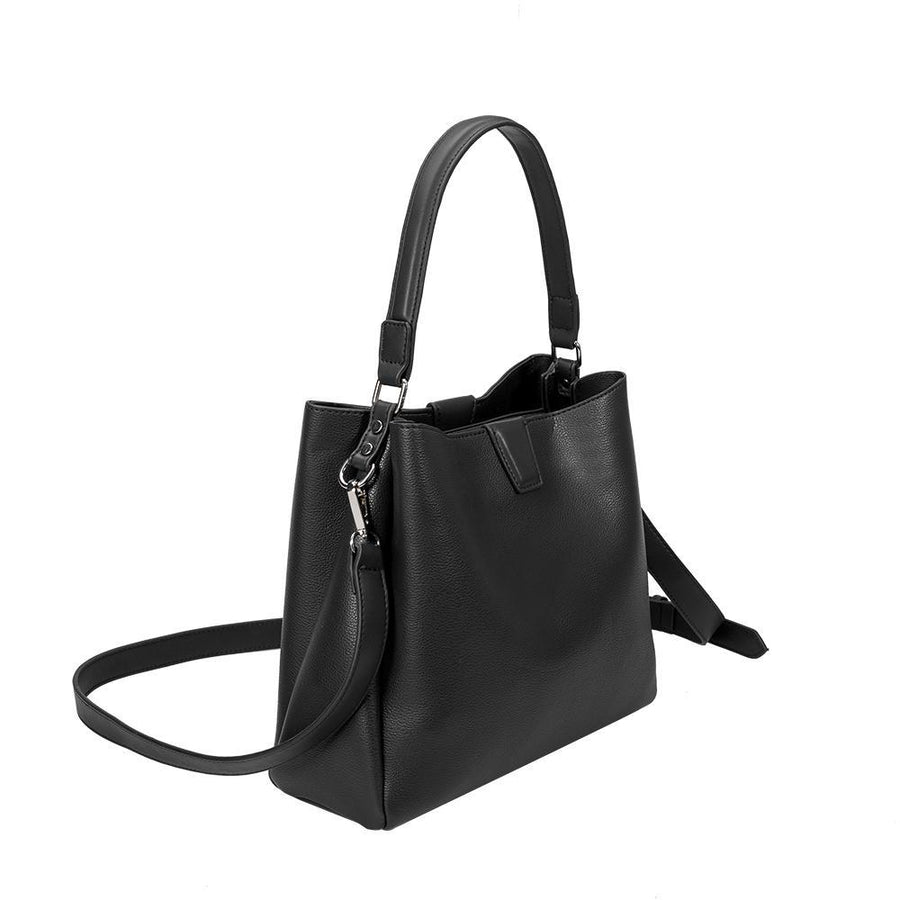 Melie Bianco Luxury Vegan Leather Maya Shoulder Bag in Black