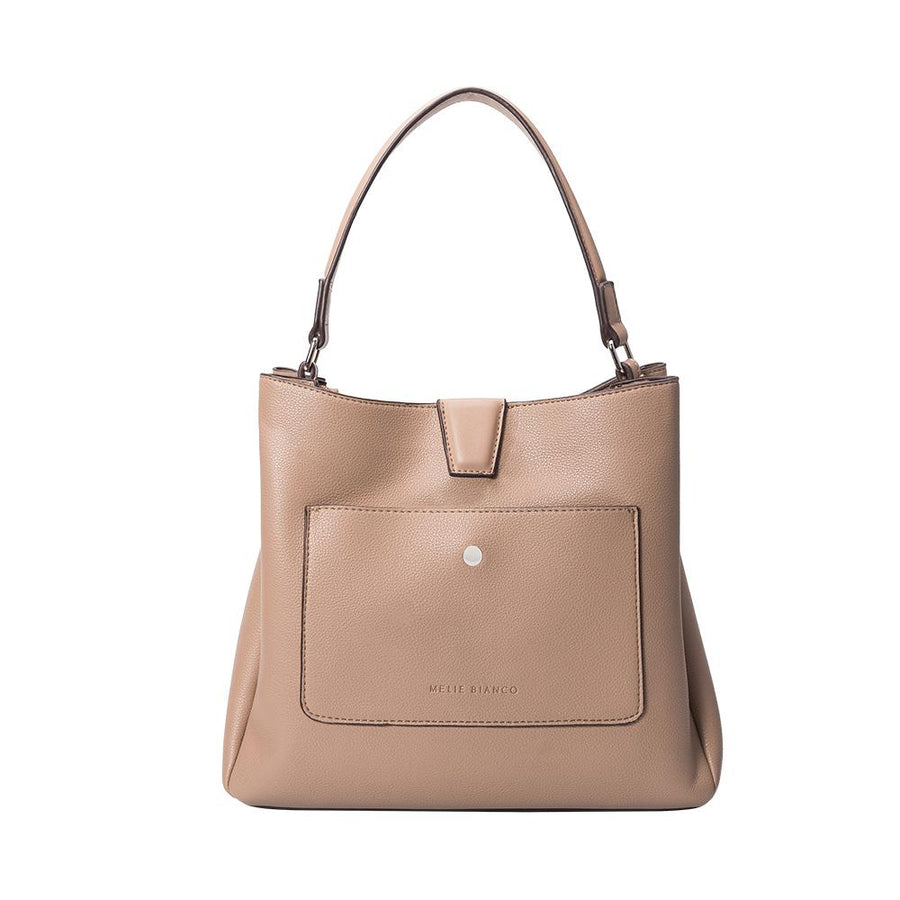 Melie Bianco Maya Luxury Vegan Leather Shoulder Bag in Taupe