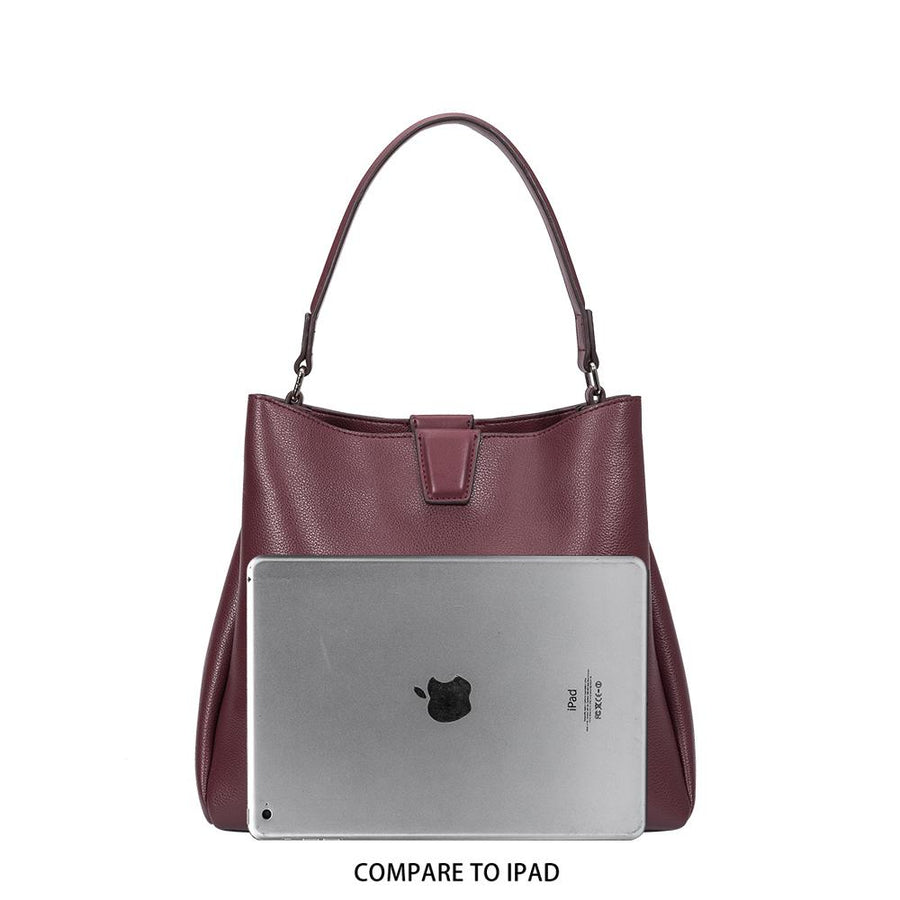 Melie Bianco Luxury Vegan Leather Maya Shoulder Bag in Merlot
