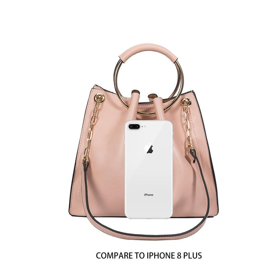 Melie Bianco Luxury Vegan Leather Chelsea Crossbody Bag in Blush