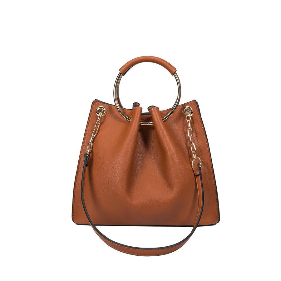 Melie Bianco Luxury Vegan Leather Chelsea Crossbody Bag in Saddle