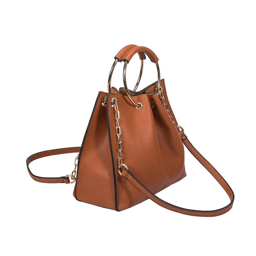 Melie Bianco Chelsea Luxury Vegan Leather Top Handle in Saddle