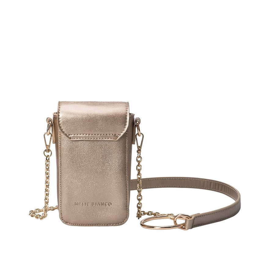 Melie Bianco Luxury Vegan Leather Riki Crossbody Bag in Gold