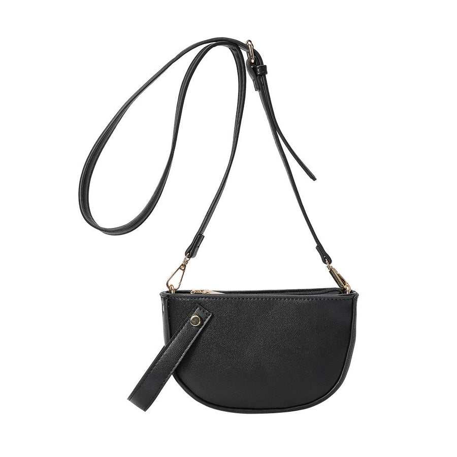 Melie Bianco Luxury Vegan Leather Renee Crossbody Bag in Black