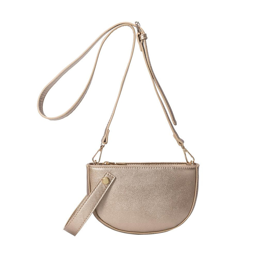 Melie Bianco Renee Luxury Vegan Leather Crossbody in Gold
