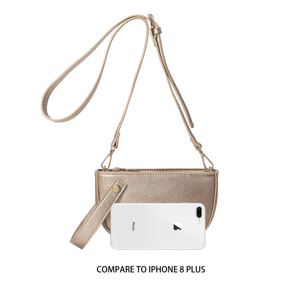 Melie Bianco Luxury Vegan Leather Renee Crossbody Bag in Gold