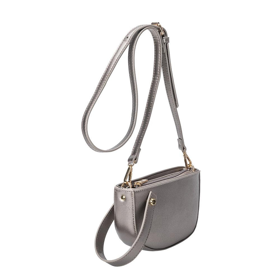 Melie Bianco Luxury Vegan Leather Renee Crossbody Bag in Pewter