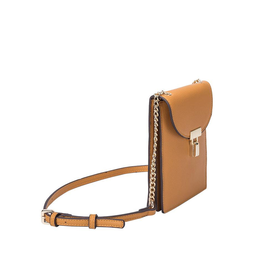 Melie Bianco Luxury Vegan Leather Nina Crossbody Bag in Mustard