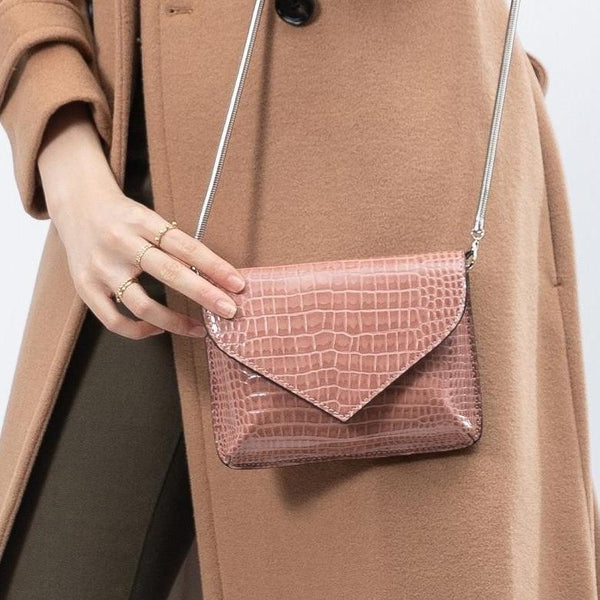 Melie Bianco Anna Luxury Vegan Crocodile Leather Crossbody in Blush